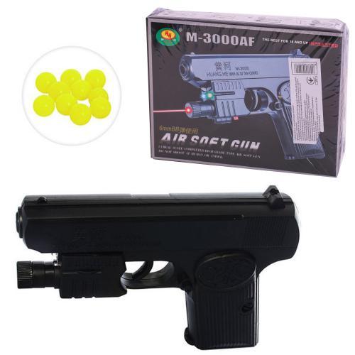 Пистолет M3000AF (96шт) на пульках, 15,5см, лазер, M3000AF