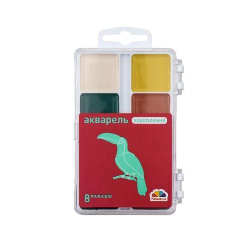 Акварель 8 кол., б/п, пластик, Захват, GA-200102