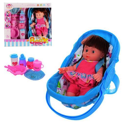 Кукла люлька33см,бутылоч,посуда,слюнявчик,звук,2в, K0057AB