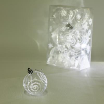 8721 Елочные шарики прозрачные 6см 6шт/кор (120кор