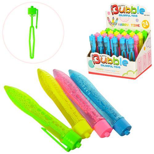 Мыльные пузыри ручка 12см, 24шт(4цвета) в дисплее, 1012