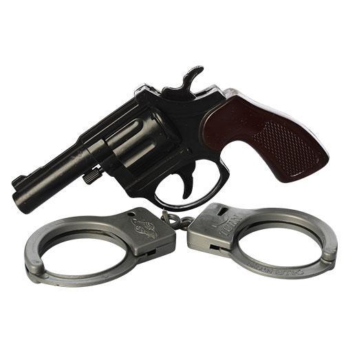 Набор полицейского пистолет 14см, наручники,на лис, 651-6