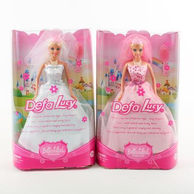 Кукла DEFA 6091 (36шт) невеста, 28см, расческа, в