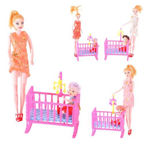 Кукла 339-2 (144шт) 2шт, 27см и 10см, с кроваткой, 339-2
