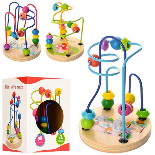 Деревянная игрушка Лабиринт на проволоке, 13см, 3в, XY-5822