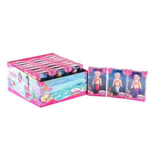 Кукла русалочка, 11см, 24шт(3цвета) в дисплее, 25, 8099A