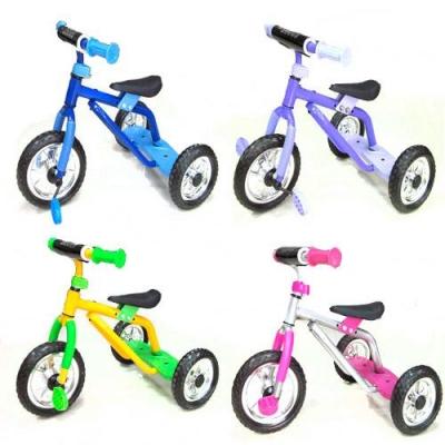 Велосипед три колеса серо-роз, голуб, жел-зел, фио