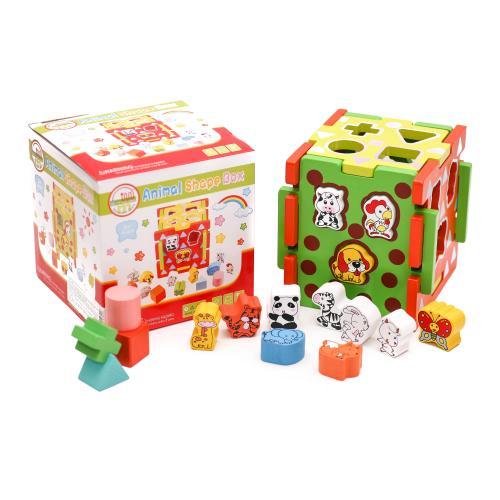 Деревянная игрушка Сортер MD 1244 (36шт) куб 15см, MD 1244