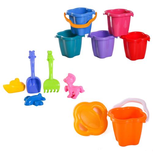 Детский песочный набор:ведерко,сито,лопатка, CP 0978