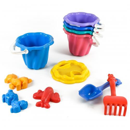 Детский песочный набор:ведерко,сито,лопатка, CP 1098