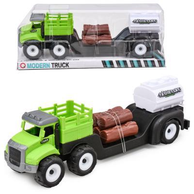 Трейлер-грузовик, с дровами и бочкой