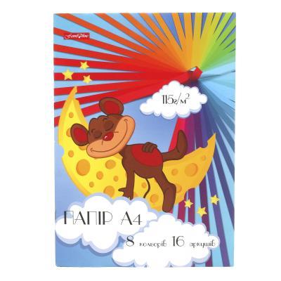 Цветная бумага А4, 16 листов (цена за штуку)