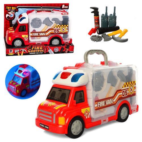 Машинка 34,5см, инструм(набор пожарника),зв,св,на, 661-175