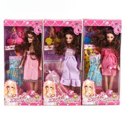 Кукла 0308A 3 вида, набор одежды, сумочка, расчес